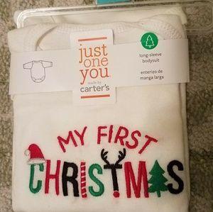 Long sleeve onesie.  My first Christmas 3 mos